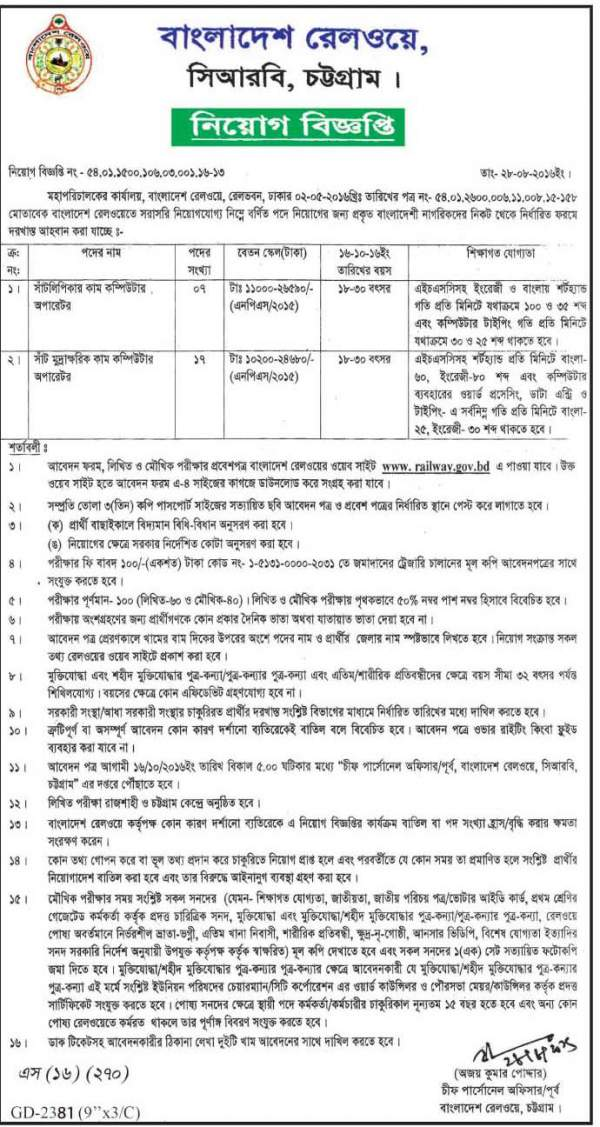 Bangladesh railway recent job Circular