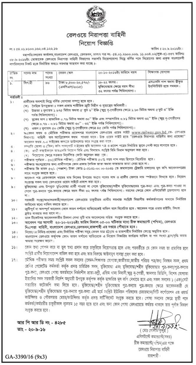 Railway job circular September