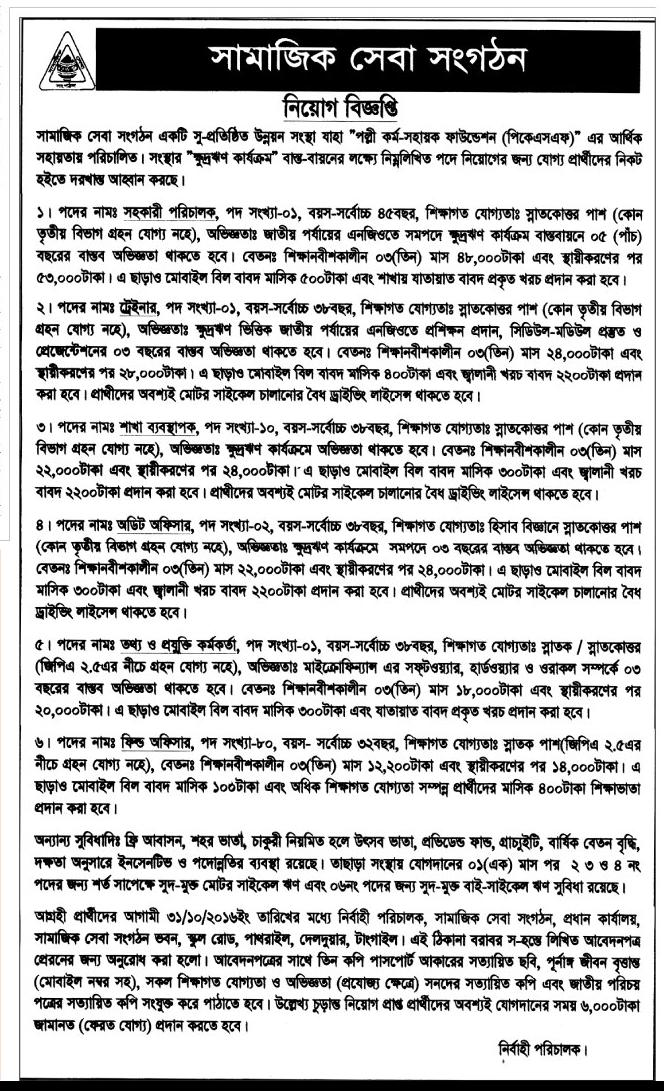 PKSF NGO Job Circular October