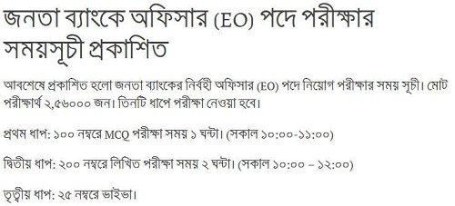 Janata Bank Exam Date